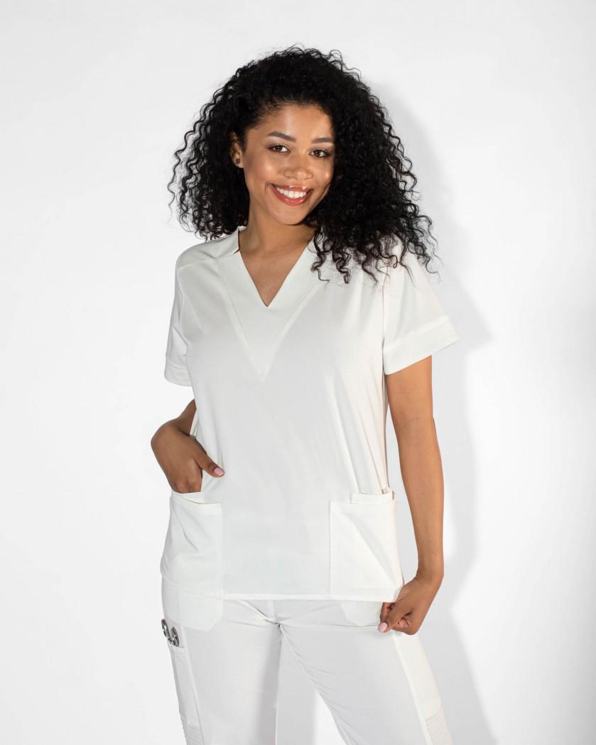 Bluza medicala din tesatura elastica V Neck