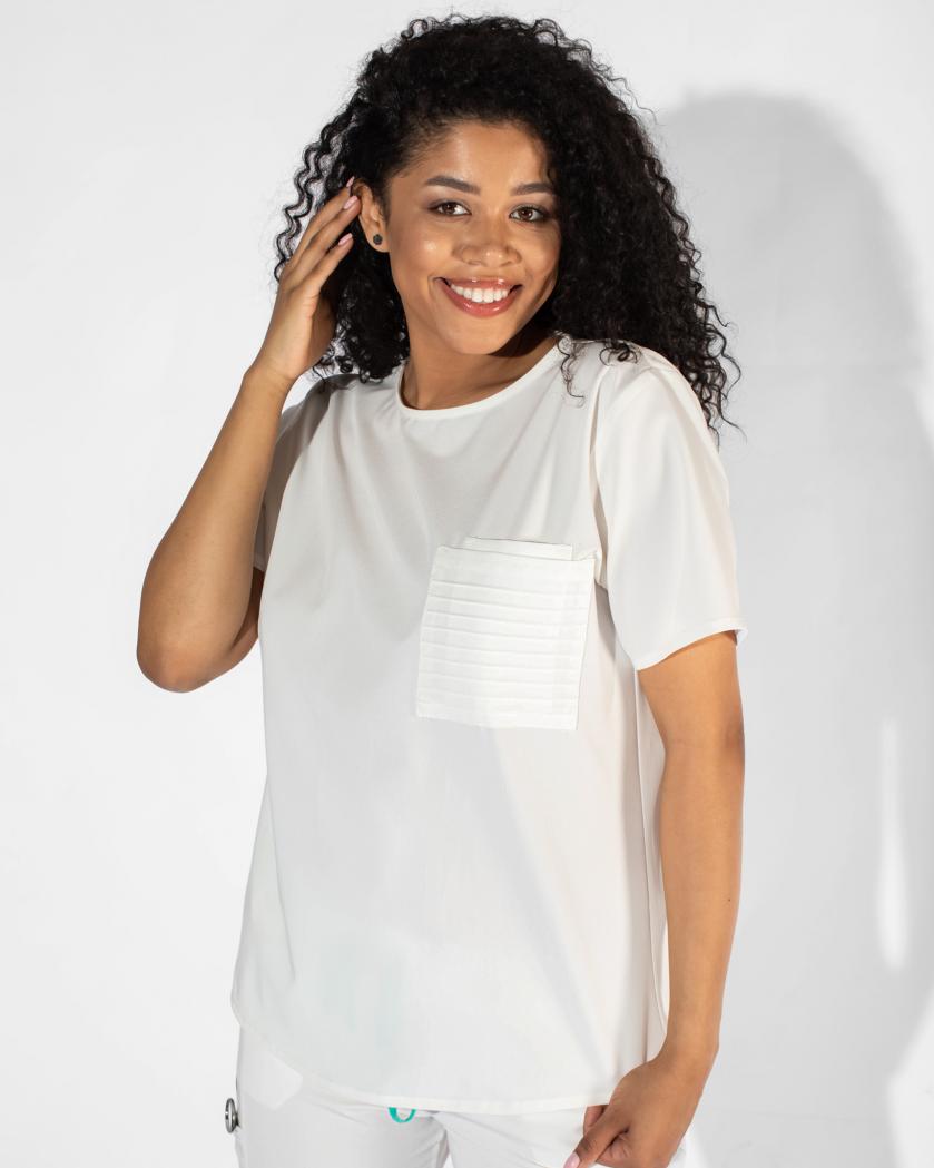 Bluza medicala din tesatura elastica cu buzunar