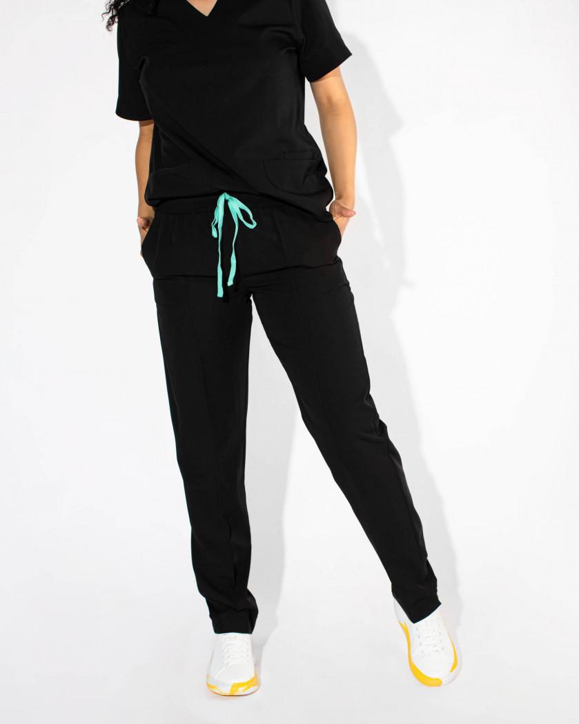 Pantaloni medicali conici din tesatura elastica