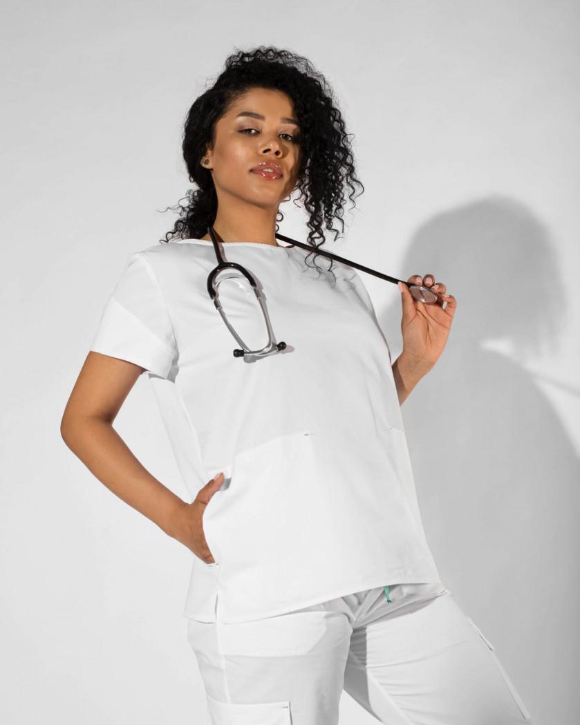 Bluza medicala dreapta cu taieturi decorative pe maneci