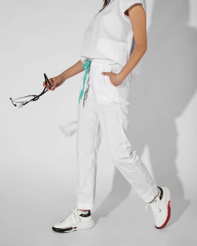Pantaloni conici din tesatura rigida cu talie elastica
