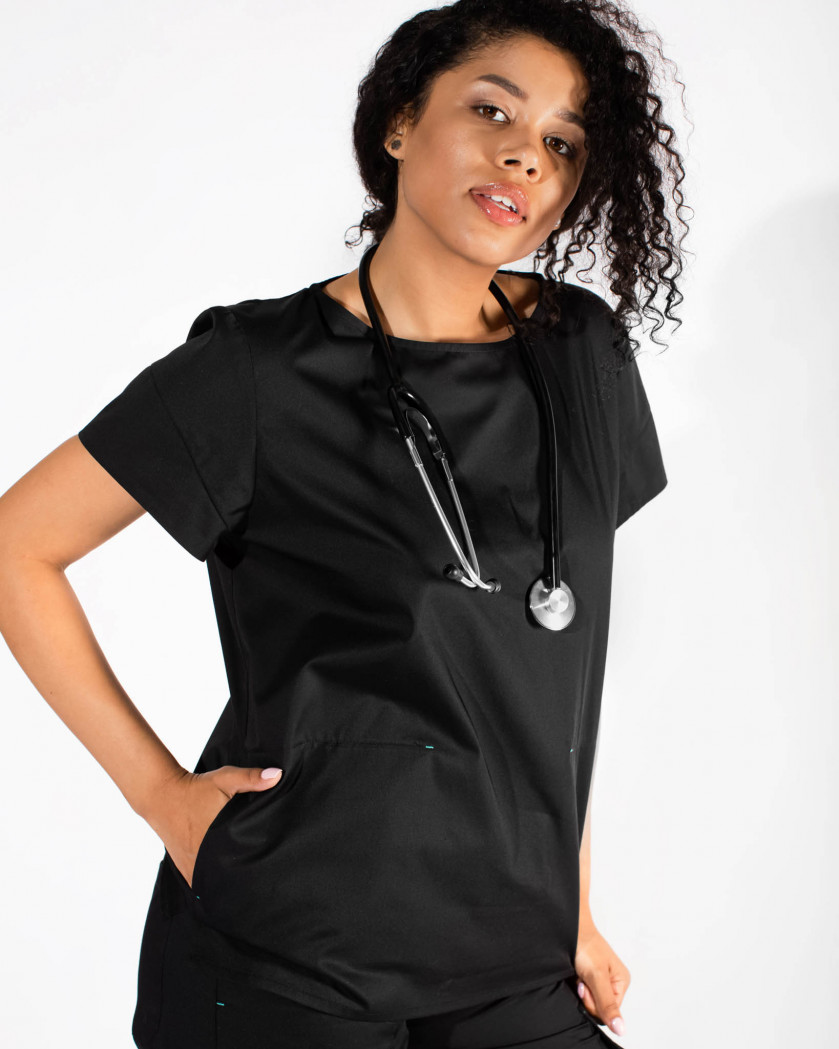 Bluza medicala cu taieturi decorative