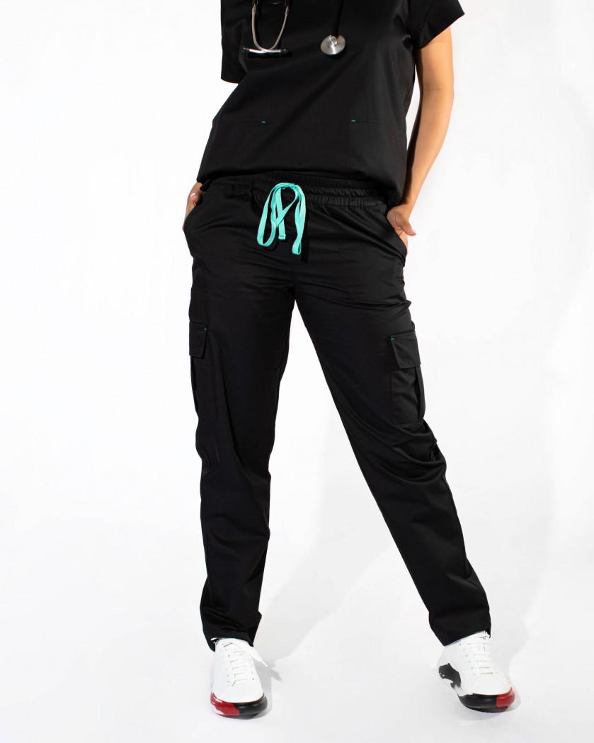 Pantaloni medicali dama cargo cu snur