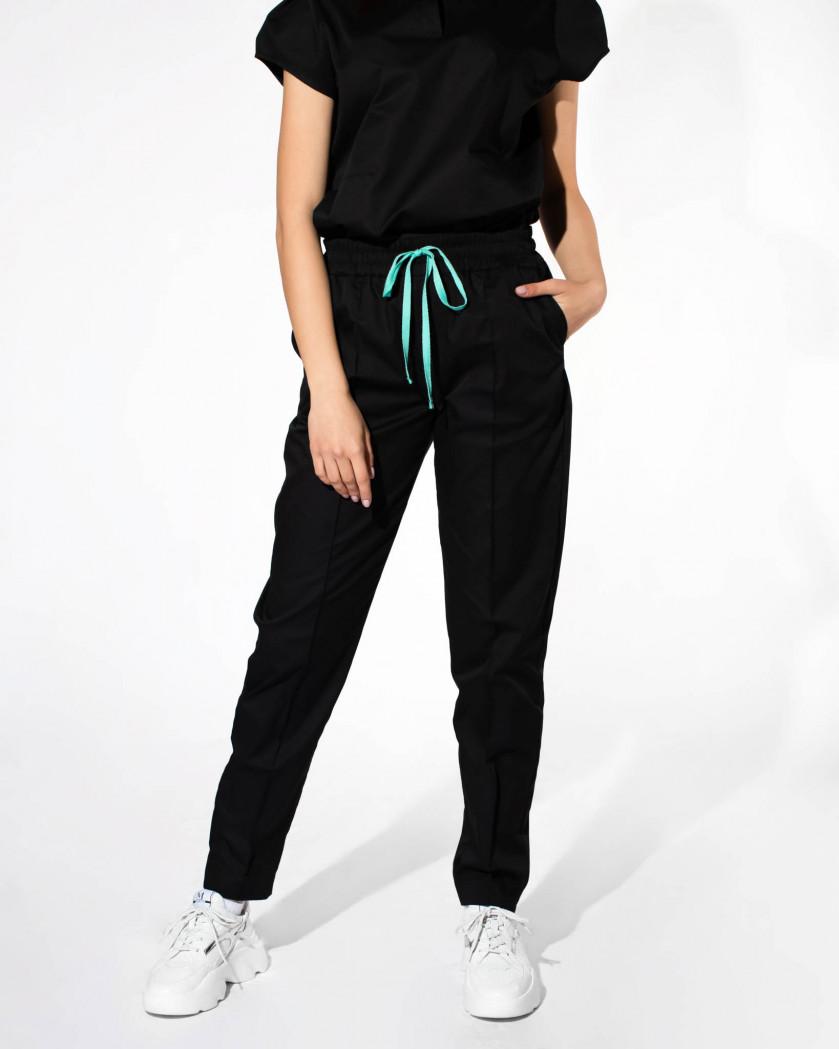 Pantaloni medicali din tesatura rigida si cusaturi decorative