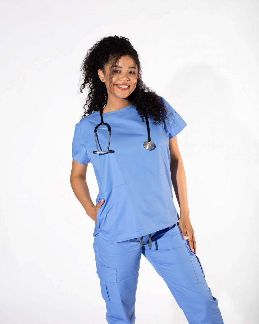 Bluza medicala dama cu taieturi decorative