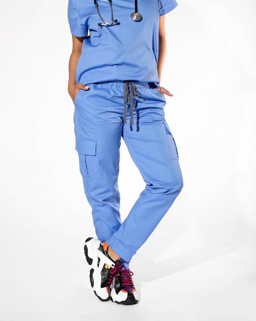 Pantaloni medicali cargo cu buzunare multiple
