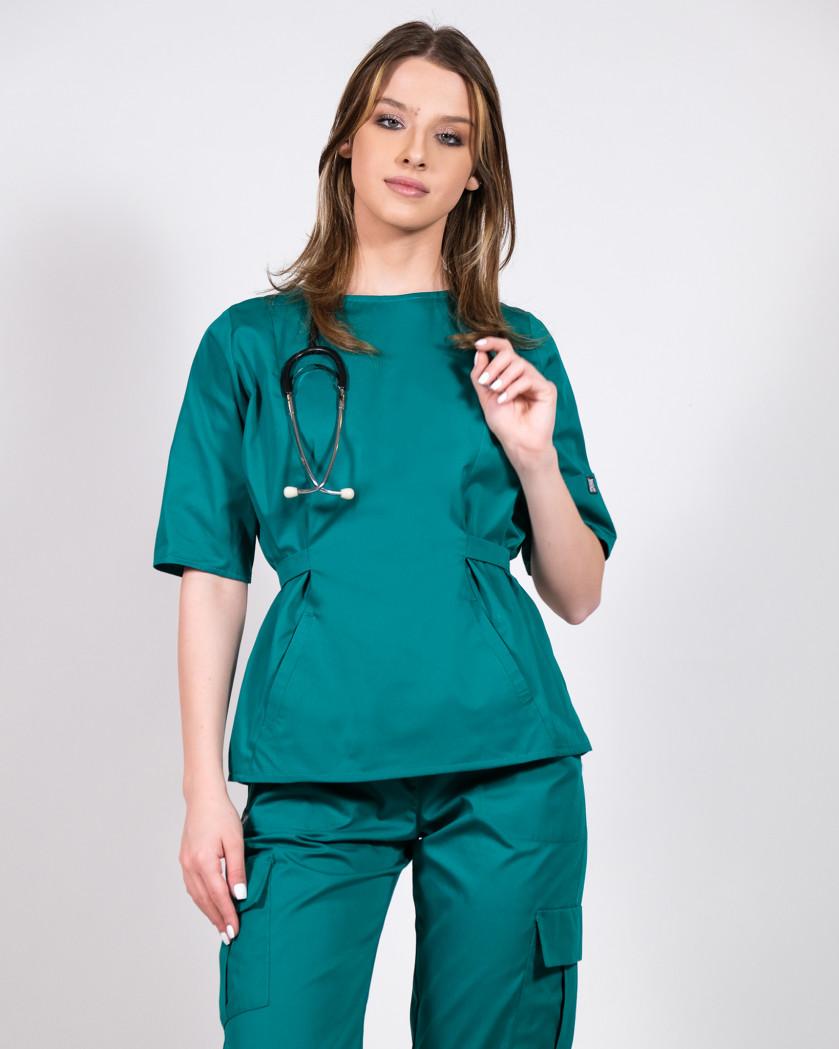 Bluza medicala verde prevazuta cu cordon reglabil in talie