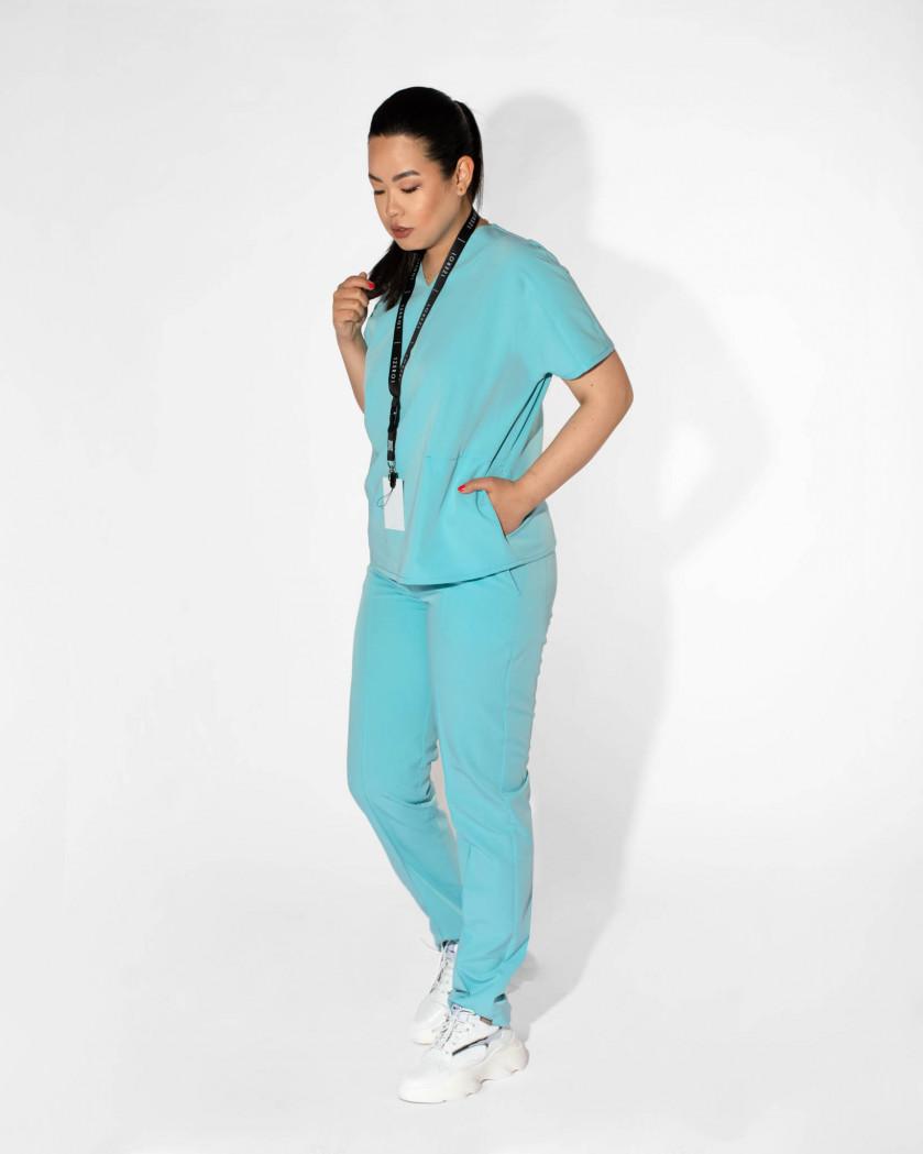 Pantaloni medicali dama din tesatura elastica
