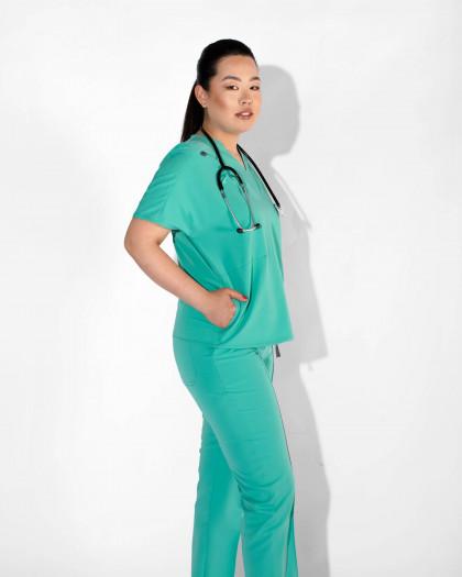 Bluza medicala din tesatura elastica cu buzunare laterale