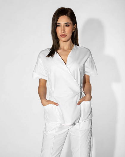 Bluza medicala cu cordon in talie
