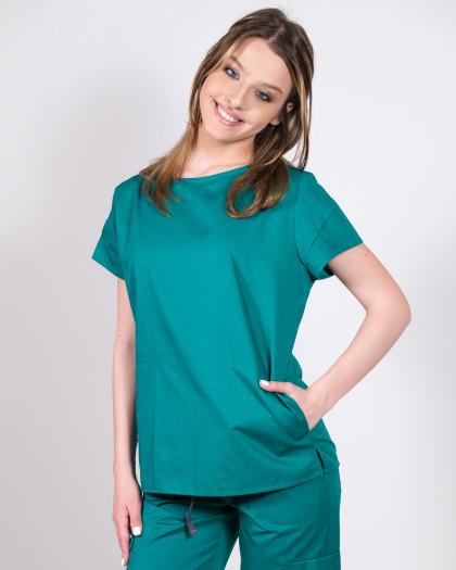 Bluza medicala verde cu buzunare laterale adanci