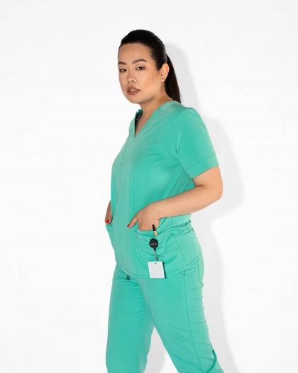 Bluza medicala din tesatura elastica cu decolteu in V