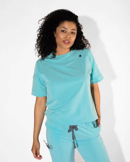 Bluza medicala din tesatura elastica cu capse