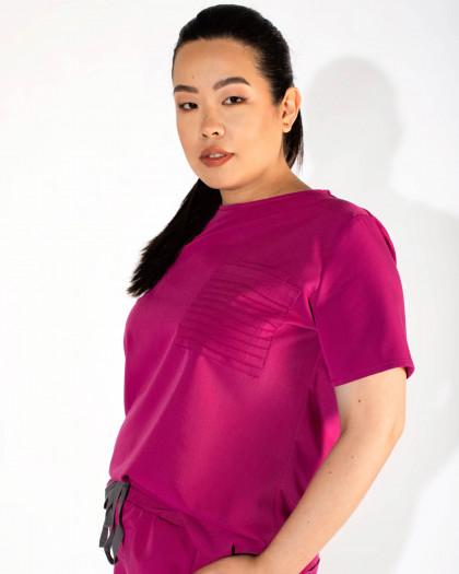 Bluza medicala dama cu decolteu rotund si buzunar frontal