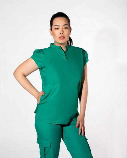 Bluza medicala cu guler mao si buzunare laterale