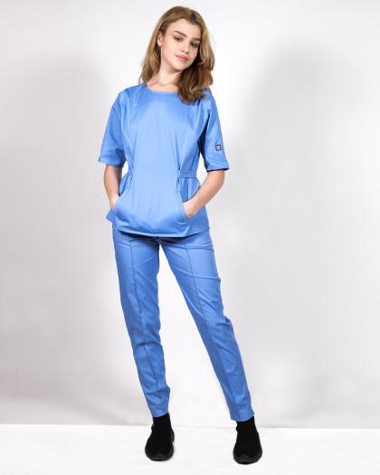 Bluza medicala cu cordon si trei buzunare