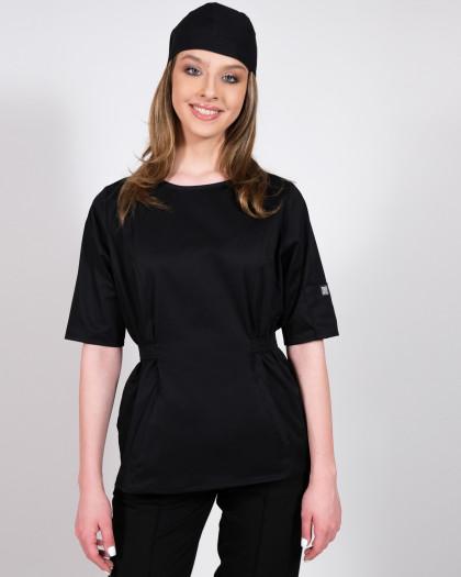 Bluza medicala neagra cu cordon in talie